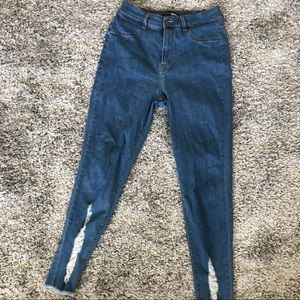 Distress Ankle High Waist Jeans